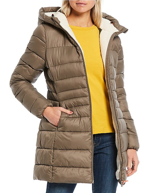 Save the Duck Giga Synthetic Down Faux Sherpa Long Hooded ...