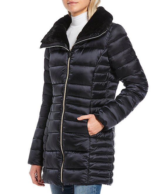 Color:Black - Image 1 - Irisy Synthetic Down Quilted Long Parka with Faux Fur Lined Collar