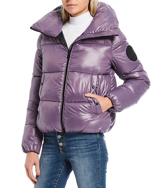 Color:Grape - Image 1 - Luck Synthetic Down Glossy Quilted Puffer Coat