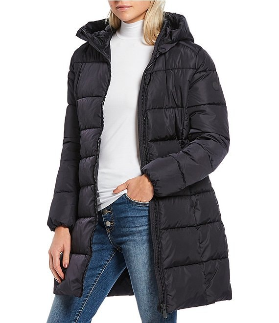 Color:Black - Image 1 - Mega Synthetic Down Quilted Long Parka with Hood