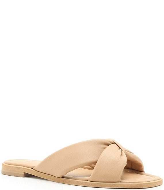 Color:Honey Beige - Image 1 - Fairy Leather Slide Sandals