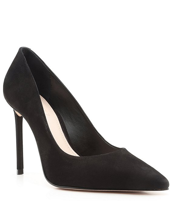 Color:Black - Image 1 - Lou Suede Leather Pointed Toe Stiletto Pumps