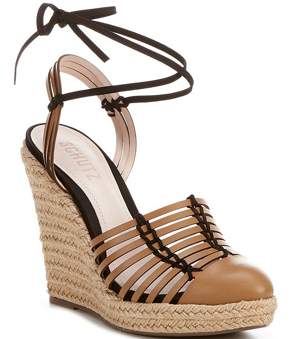 Color:Hazel - Image 1 - Randi Huarache Leather Espadrille Wedge Sandals