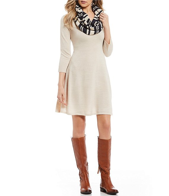 Sequin Hearts 3/4 Sleeve Patterned Scarf Sweater Dress
