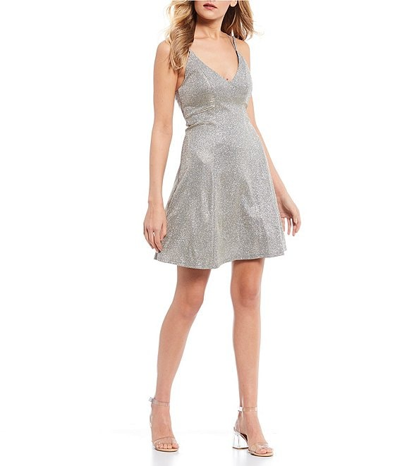Color:Champagne - Image 1 - Double Spaghetti Strap Iridescent Shimmer Fit-and-Flare Dress
