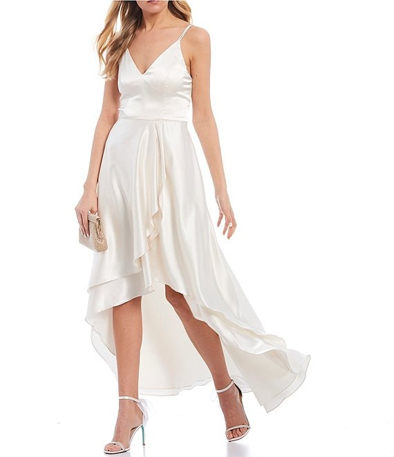 Color:Vanilla - Image 1 - Double Spaghetti Strap V-Neck Ruffled Satin Long High-Low Dress