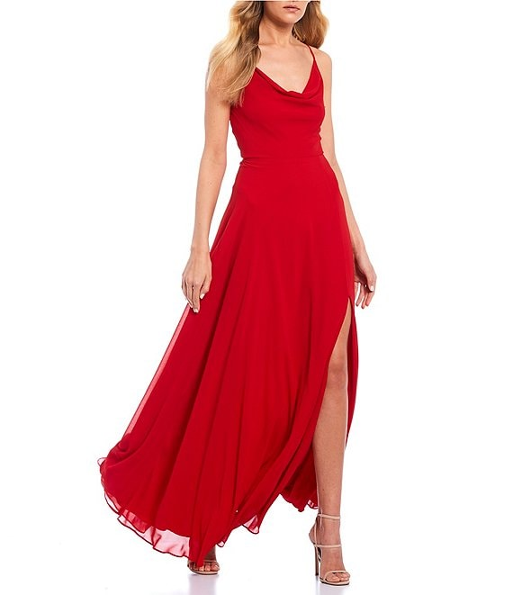Color:Red - Image 1 - Drape Neckline Lace-Up-Back Side Slit Long Dress