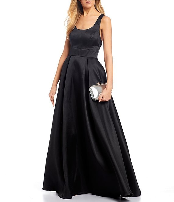 Color:Black - Image 1 - Scoop Neck Satin Racer-Back Ball Gown