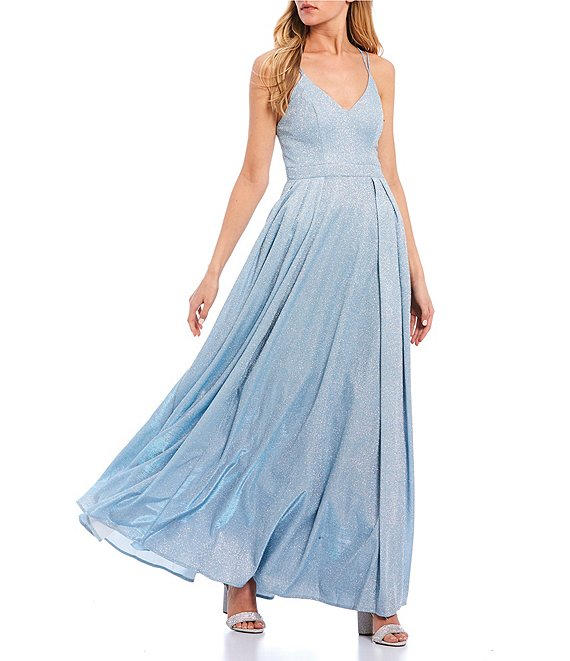 Color:Sky/Silver - Image 1 - Shimmer Shine X-Back Long Dress