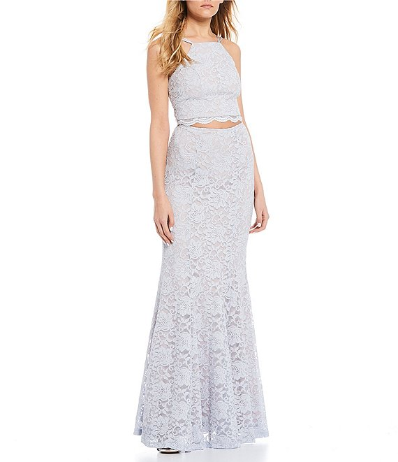 Color:Silver - Image 1 - Spaghetti Strap Glitter Lace Trumpet Two-Piece Long Dress