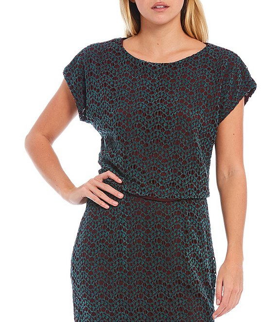 Color:Mahogany/Jade - Image 1 - Cleo Chenille Corded Lace Cap Sleeve Cropped Top