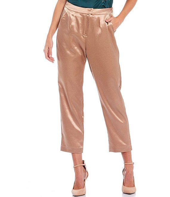 Color:Suede - Image 1 - Ellis Satin High Waist Cropped Pant