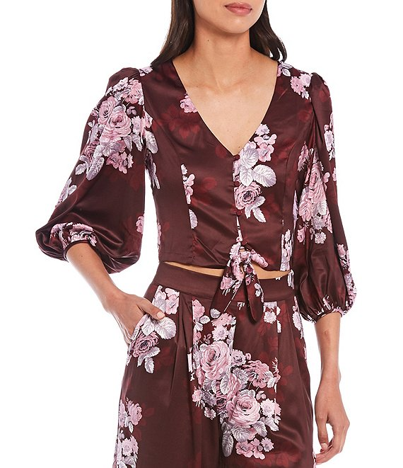 Color:Shadow Floral Mahogany - Image 1 - Lydia Shadow Floral Print V-Neck Lantern Sleeve Button Tie-Front Top
