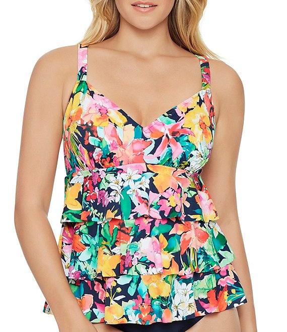 Color:Multi - Image 1 - Tropical Beauty Triple Tier Faux One Piece Swimsuit