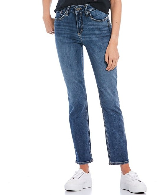 Color:Indigo - Image 1 - Avery High Rise Straight Jeans