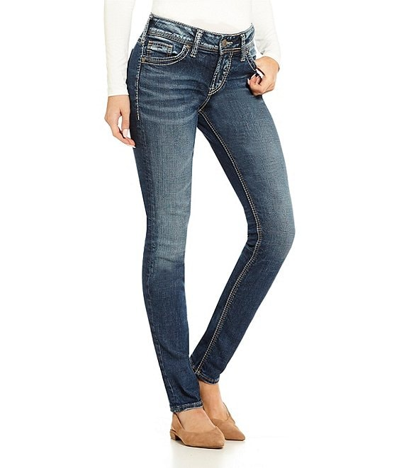 Color:Indigo - Image 1 - Elyse Super Stretch Skinny Jeans