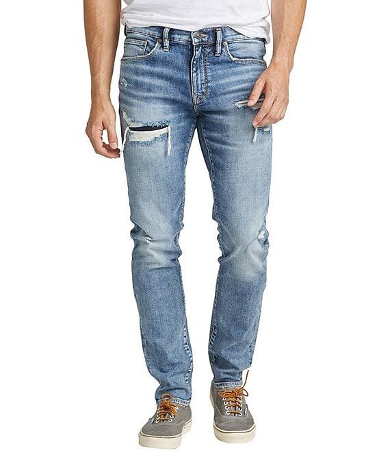 Color:Indigo - Image 1 - Kenaston Slim Fit Dark Wash Comfort Stretch Damaged Jeans