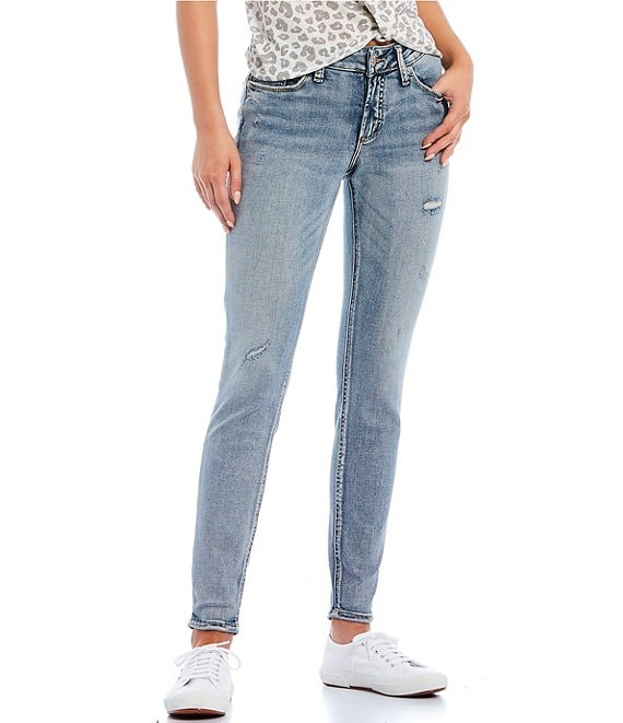 Silver Jeans Co. Suki Skinny Light Wash Distressed Jeans
