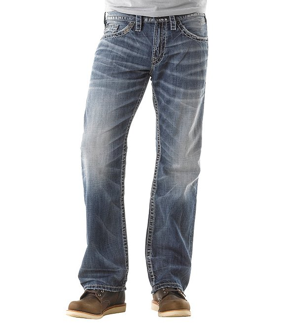 Color:Indigo - Image 1 - Zac Relaxed-Fit Straight-Leg Dusted Denim Jeans