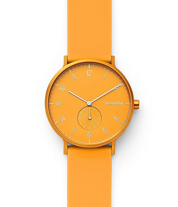 Color:Yellow - Image 1 - Aaren Kulor Yellow Silicone Watch