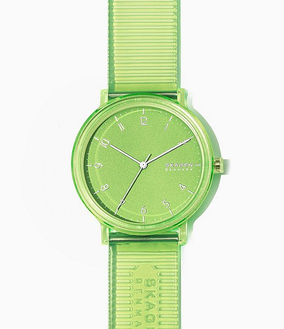 Color:Green - Image 1 - Aaren Transparent Three-Hand Green Jelly Watch