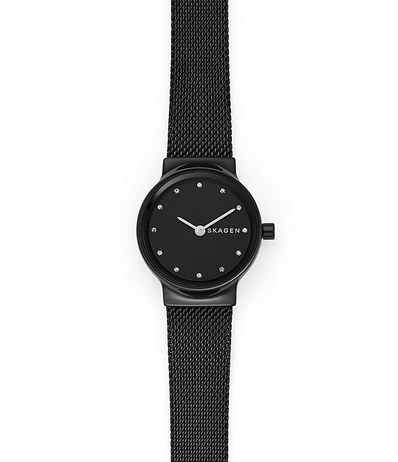 Skagen Freja Black Steel-Mesh Watch