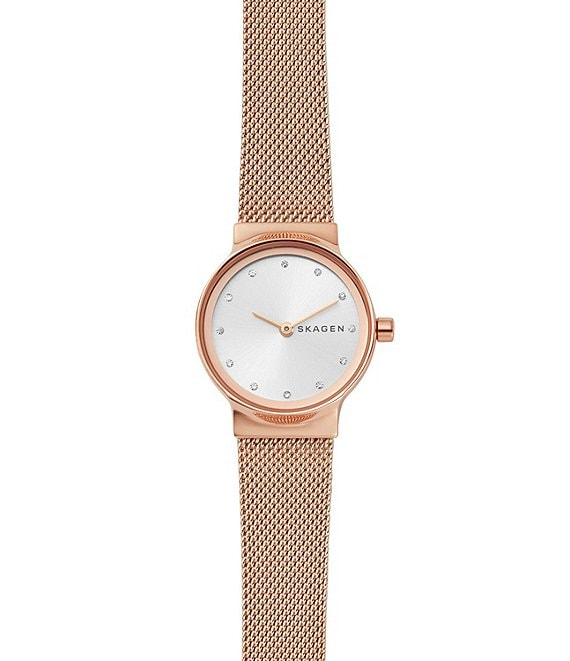 Color:Rose Gold - Image 1 - Freja Rose Gold Tone Steel-Mesh Watch