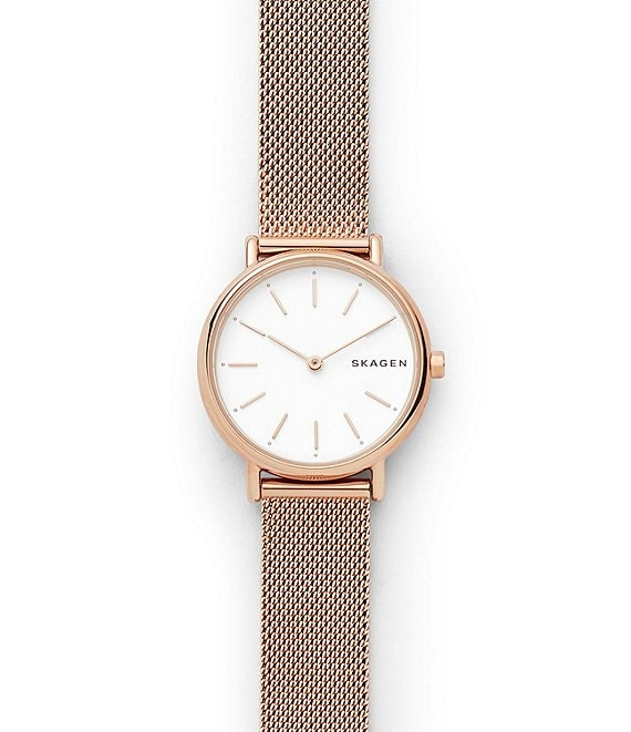 Skagen Signatur Slim Rose Gold-Tone Steel-Mesh Watch