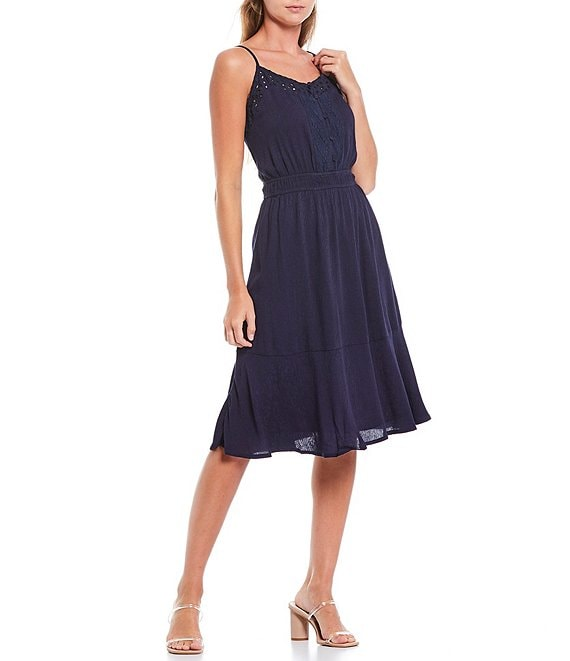 Color:Navy - Image 1 - V-Neck Lace Trim Sleeveless Cami Midi Dress