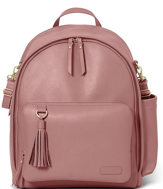 Color:Pink - Image 1 - Greenwich Tasseled Vegan Leather Backpack Diaper Bag