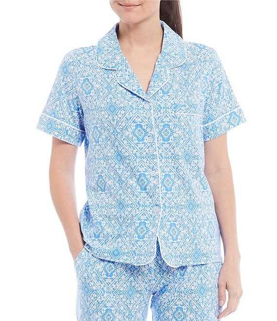 Color:Regatta - Image 1 - Printed Jersey Knit Pajama Top