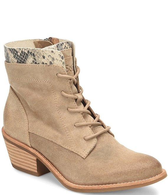 Color:Cashmere - Image 1 - Althea Waterproof Suede Lace -Up Block HeelBooties