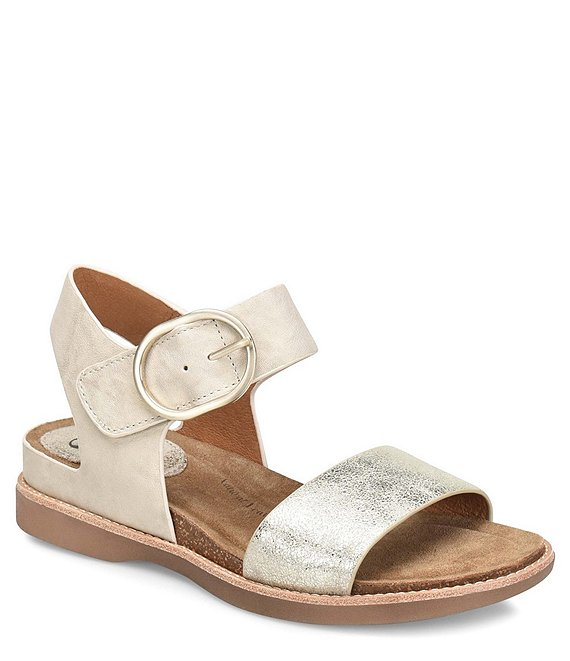 Color:Light Grey - Image 1 - Bali Metallic Leather Sandals