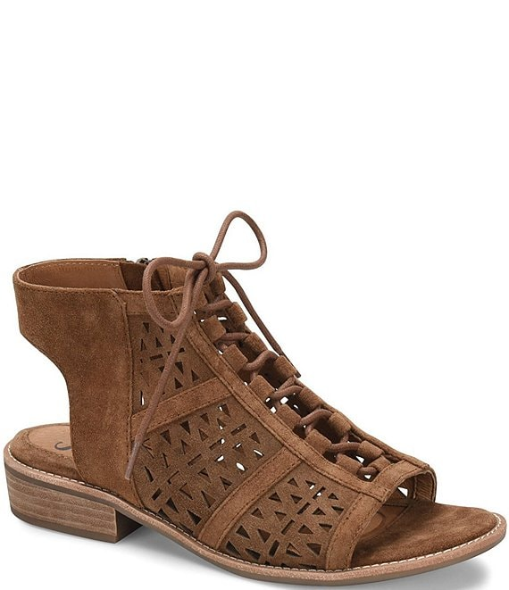 Color:Brown - Image 1 - Nora Geometric Perforated Suede Ghillie Sandals