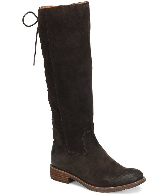 Color:Dark Brown - Image 1 - Sharnell II Waterproof Suede Lace-Up Back Block Heel Tall Boots