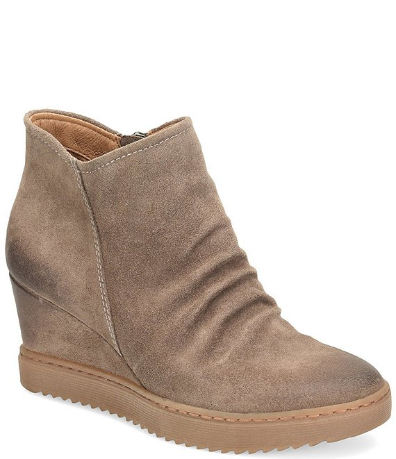 Color:Taupe - Image 1 - Siri Waterproof Suede Wedge Boots