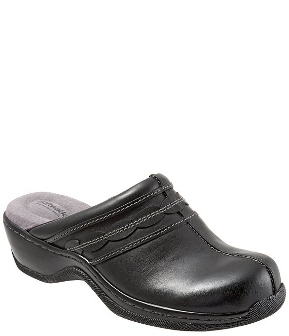 Color:Black - Image 1 - Abby Leather Clogs