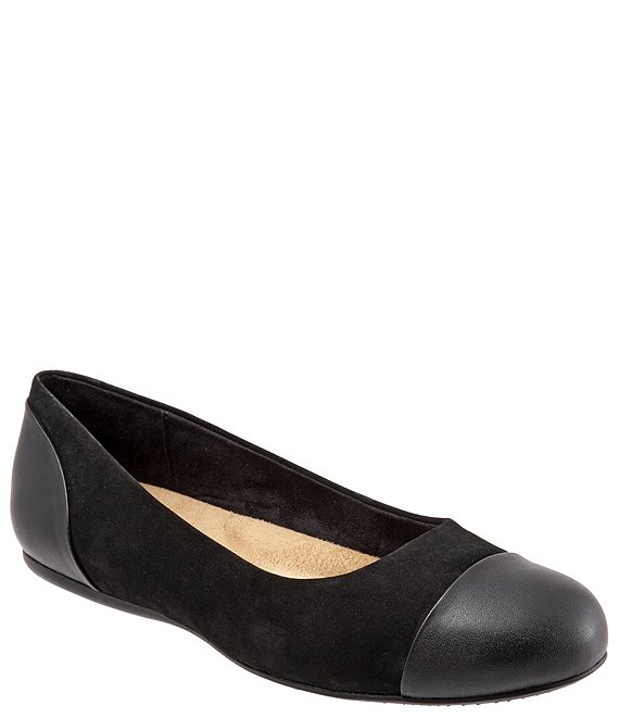 SoftWalk Sonoma Suede & Leather Cap Toe Ballet Flats
