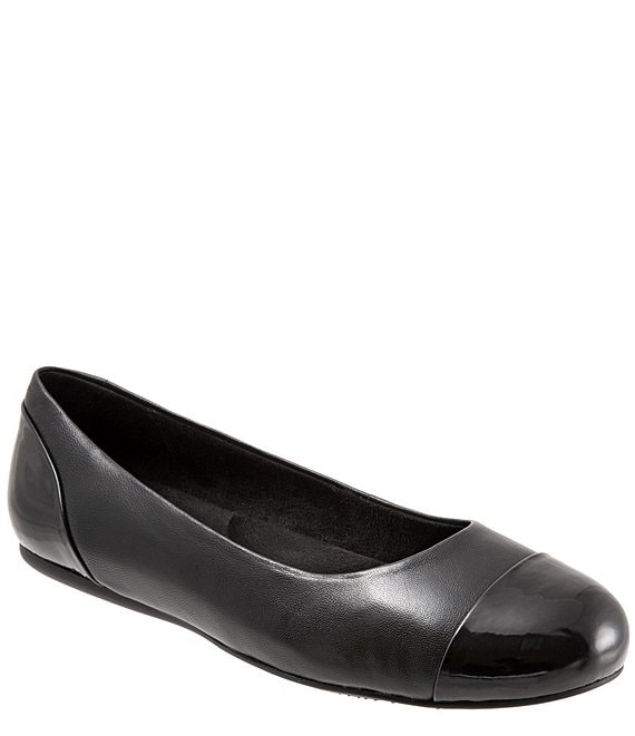 SoftWalk Sonoma Leather Cap Toe Ballerina Slip On Flats