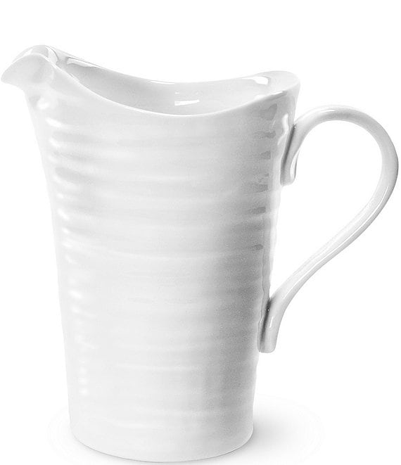 Color:White - Image 1 - Ribbed Porcelain Pitcher