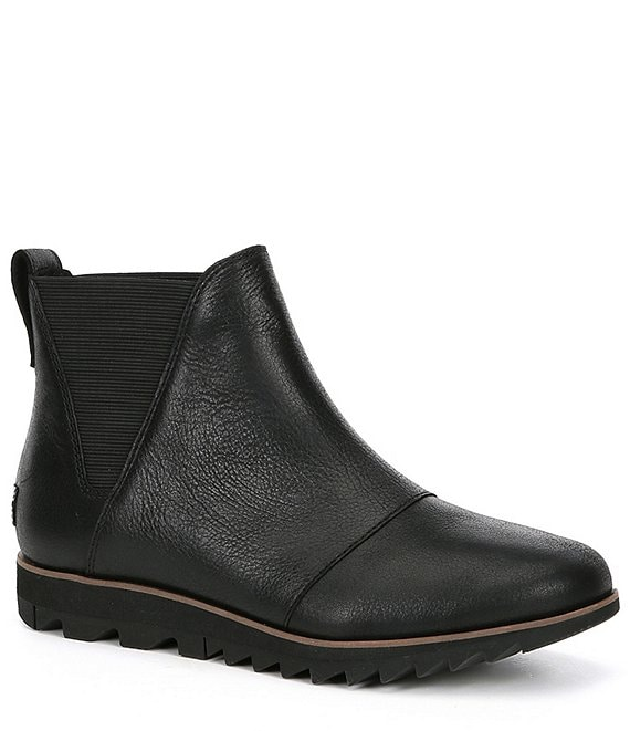 Color:Black - Image 1 - Harlow Chelsea Waterproof Leather Wedge Booties
