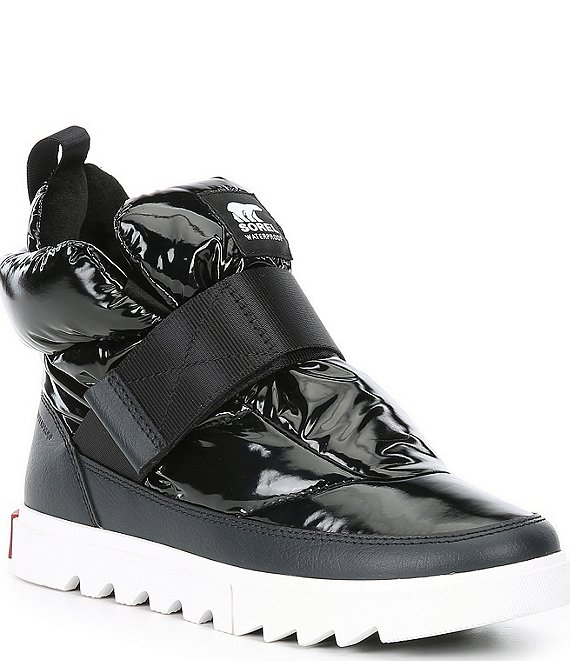 Color:Black - Image 1 - Joan of Arctic Next Lite Strap Puffy Waterproof Nylon Lug Sole Winter Booties