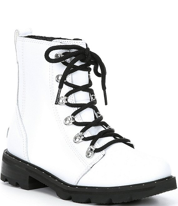 Color:White - Image 1 - Lennox Lace-Up Waterproof Leather Block Heel Booties