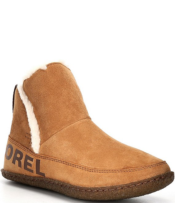 Color:Camel Brown - Image 1 - Nakiska Suede Faux Fur Lined Slipper Booties