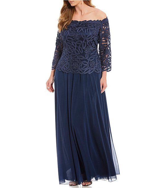 Soulmates Plus Off-the-Shoulder Beaded Bodice Lace Gown