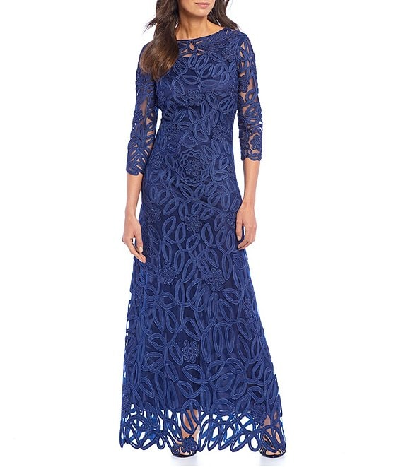 Color:Navy - Image 1 - Soutache Embroidered Beaded Bateau Neck Sheath Gown