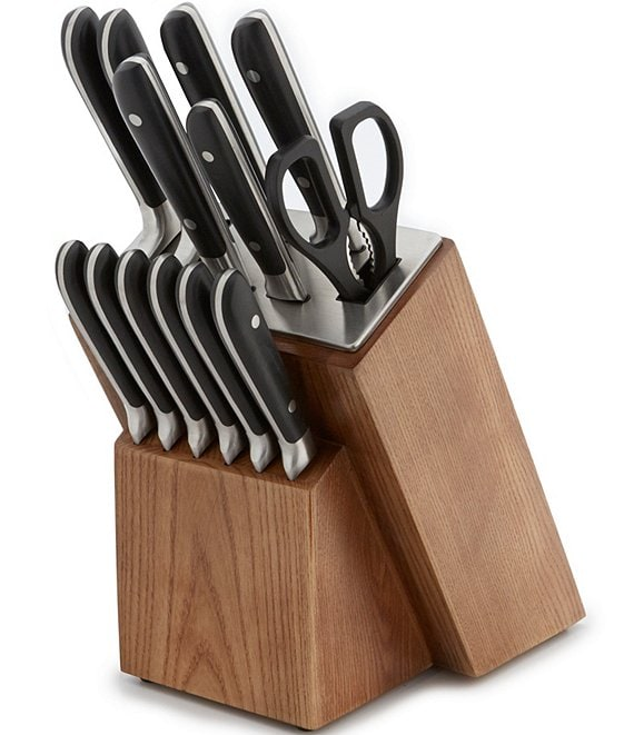 Southern Living 14-Piece Riveted Cutlery Set with Ash Wood Block