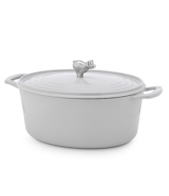 Color:Grey - Image 1 - 7-Quart Cast Iron Oval Casserole with Pig Knob