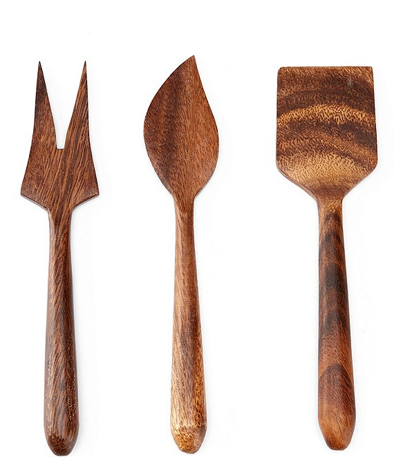 Color:Brown - Image 1 - Acacia Wood 3-Piece Cheese Tool Set