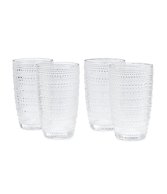 Southern Living 4-Piece Beaded Highball Glass Set